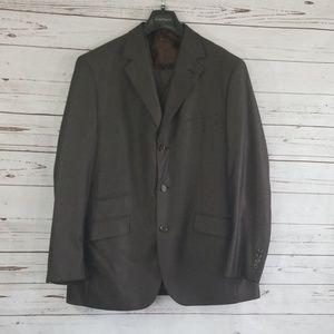 {Steve Harvey} 3 piece brown/black pinstripe suit